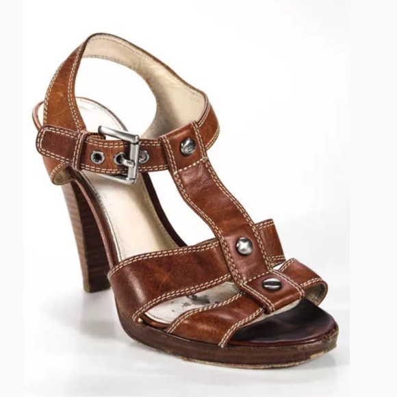 Coach Shoes - COACH BROWN LEATHER W/BLOCK HEEL SIZE 7.5
